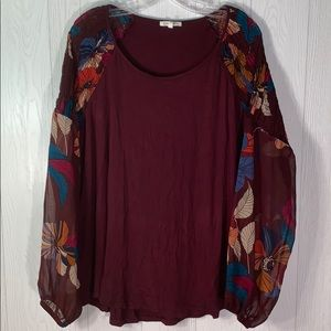 Maurices size 16/18 maroon and floral top